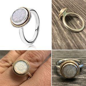 Pandora Mother of Pearl Daisy Signet Ring sz 60